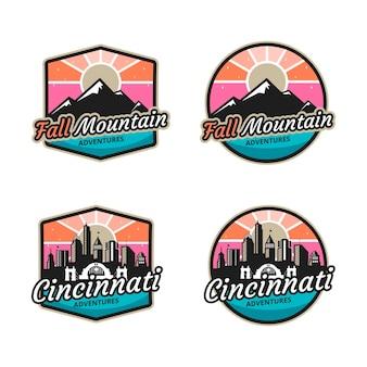 Logotipo para aventura na montanha e na cidade