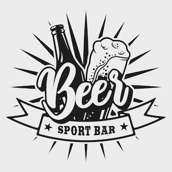 Logotipo para bar de cerveja com garrafa e copo no fundo branco.