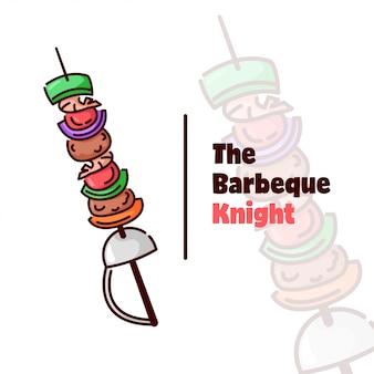 Logotipo para barbeque com vegetais e carne comprada pela espada de agulha de cavaleiro