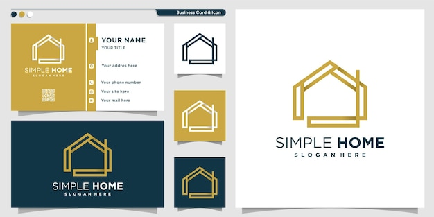 Logotipo para casa com estilo de arte de linha simples e modelo de design de cartão de visita premium vector Vetor Premium
