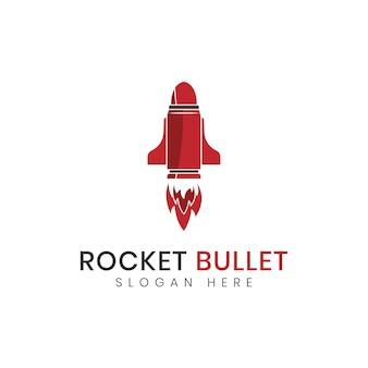 Logotipo para design de foguete e bala vermelha