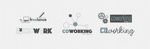 Logotipo para escritório ou espaço de trabalho na mão, estilo de desenho conceito de coworking e freelance