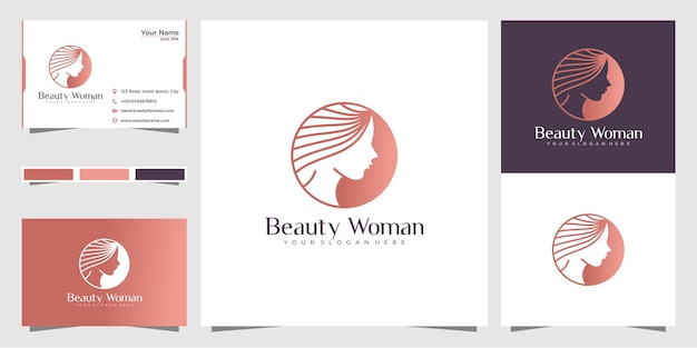 Logotipo para mulher com estilo criativo de beleza e cartão de visita