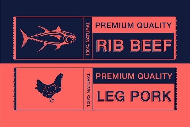 Logotipo para rotulagem de design de carne de animais