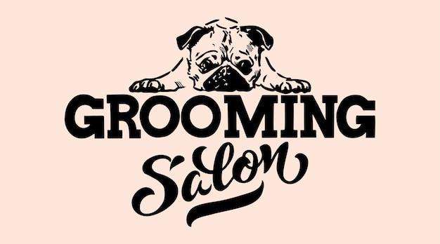 Logotipo para salão de cabeleireiro cachorro loja de estilo e cuidados pessoais para animais de estimação ilustração em vetor isolada