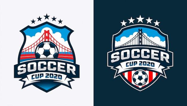 Logotipo para torneio de futebol com bola de futebol e ponte