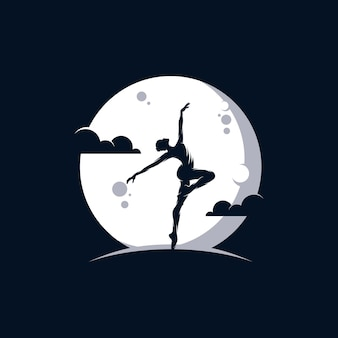 Logotipo para um estúdio de balé ou dança na lua Vetor Premium