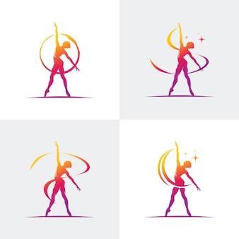 Logotipo para um estúdio de balé ou dança Vetor Premium