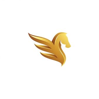 Logotipo pegasus ouro