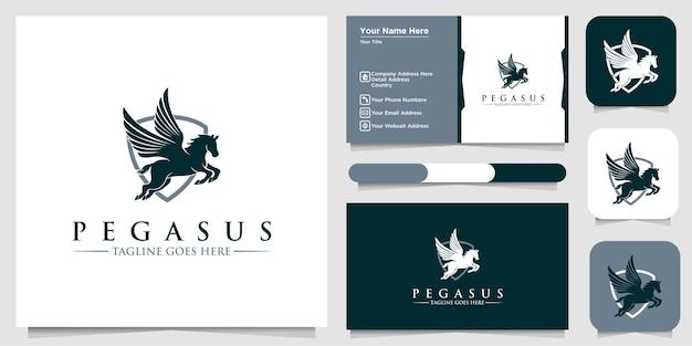 Logotipo pegasus, sinal de asa de cavalo pegasus, símbolos de logotipo ou modelos e cartões de visita
