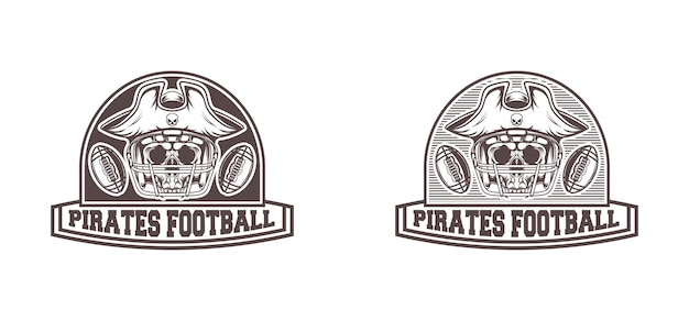 Logotipo pirata do futebol americano com estilo retro