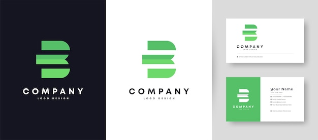 Logotipo plano mínimo inicial b com modelo de design de cartão de visita premium