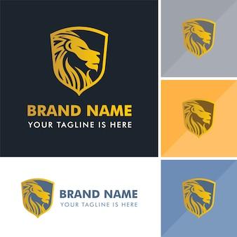 Logotipo poderoso da crista do leão