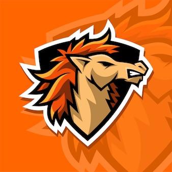 Logotipo poderoso do esporte do cavalo