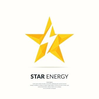 Logotipo poligonal de estrela com um raio em uma ilustração de fundo claro