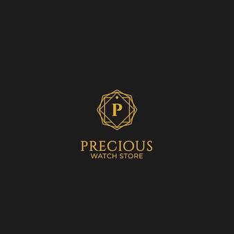 Logotipo precioso da loja de jóias de relógio de presente