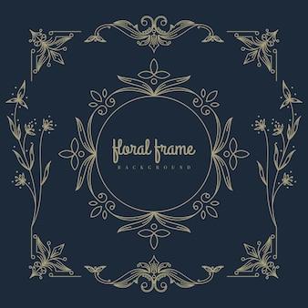 Logotipo premium com moldura floral