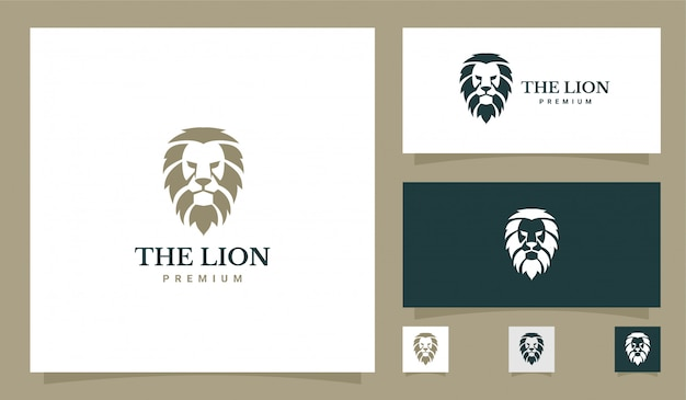 Logotipo premium de cabeça de leão
