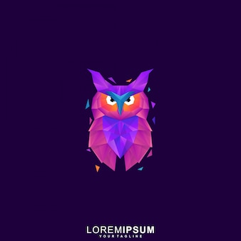 Logotipo premium de coruja poligonal