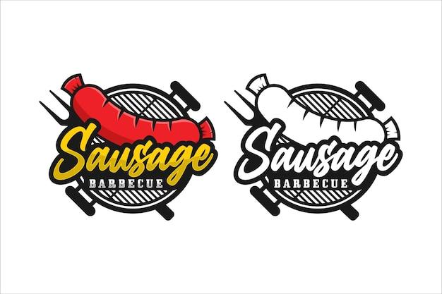 Logotipo premium de design de churrasco de salsicha