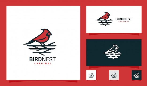 Logotipo premium de ninho de pássaro cardinal