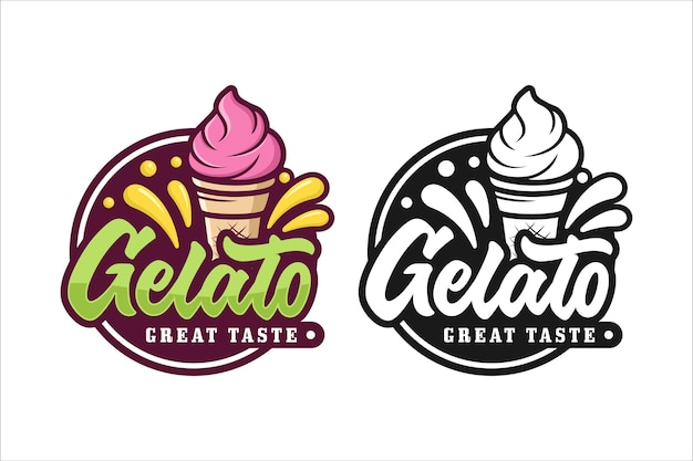 Logotipo premium do sorvete gelato