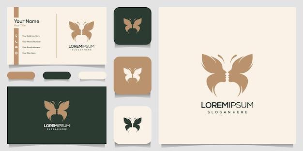 Logotipo premium feminino de rosto de borboleta abstrato, modelo de cartão de visita