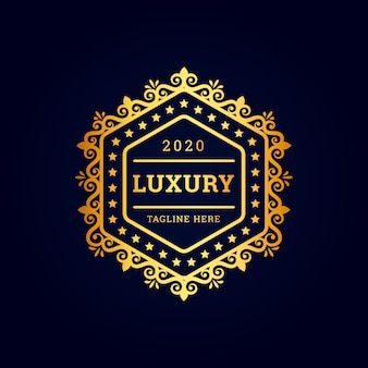 Logotipo premium hexagonal de luxo vintage com ouro
