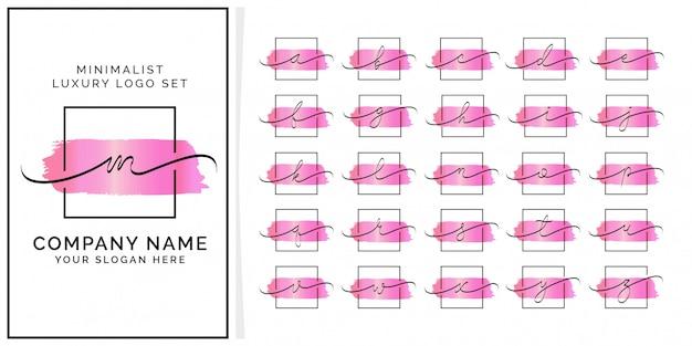 Logotipo premium inicial feminim quadrado minimalista