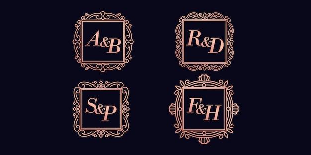 Logotipo premium inicial minimalista quadrado premium