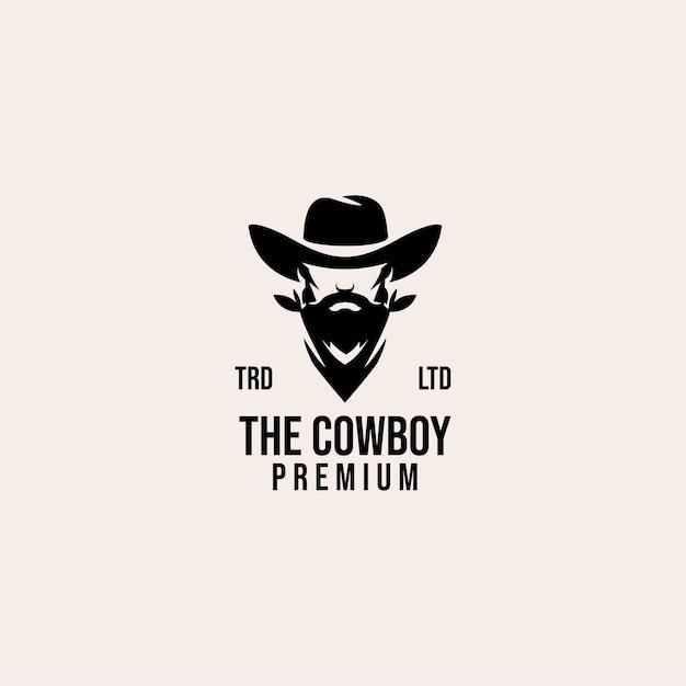 Logotipo premium vintage da cabeça de cowboy