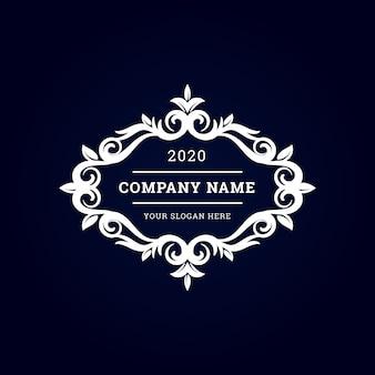 Logotipo premium vintage de luxo branco com moldura decorativa