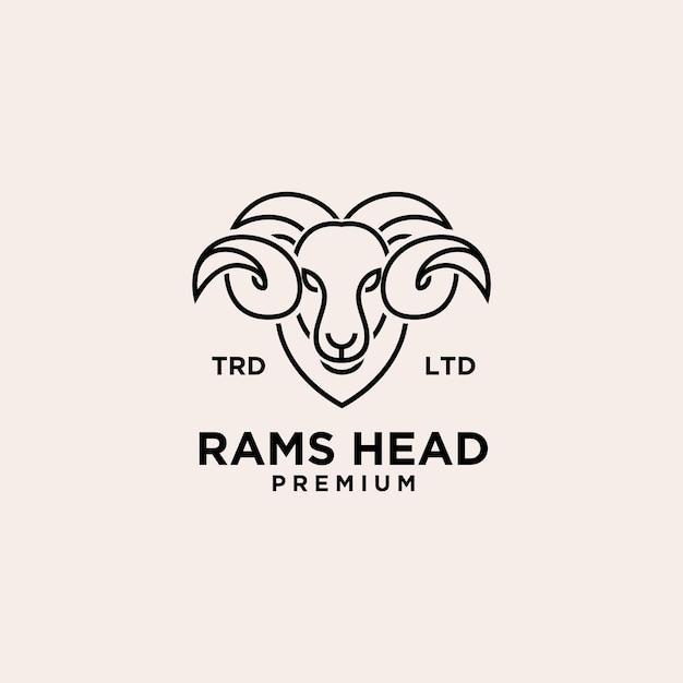 Logotipo premium vintage ram head line