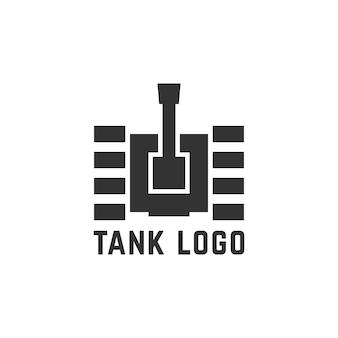 Logotipo preto do tanque simples. conceito de destruir, curso rastreador, armamento pesado, unidade militar, canhão, à prova de bombas. ilustração em vetor elemento design gráfico moderno tendência estilo plano no fundo branco