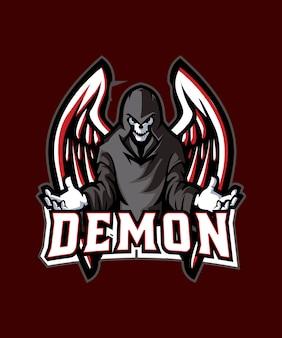 Logotipo preto dos esportes do demónio e