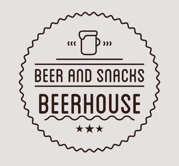 Logotipo preto. modelo de rótulo de casa de cerveja.