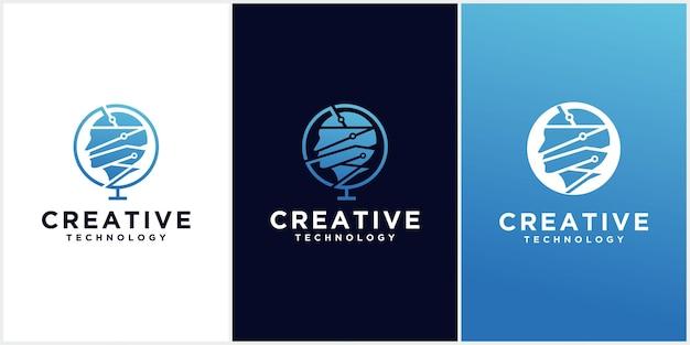 Logotipo principal do homem de tecnologia, sinal de conceito para negócios, ciência, psicologia, medicina. projeto de sinal criativo principal silhueta masculina.