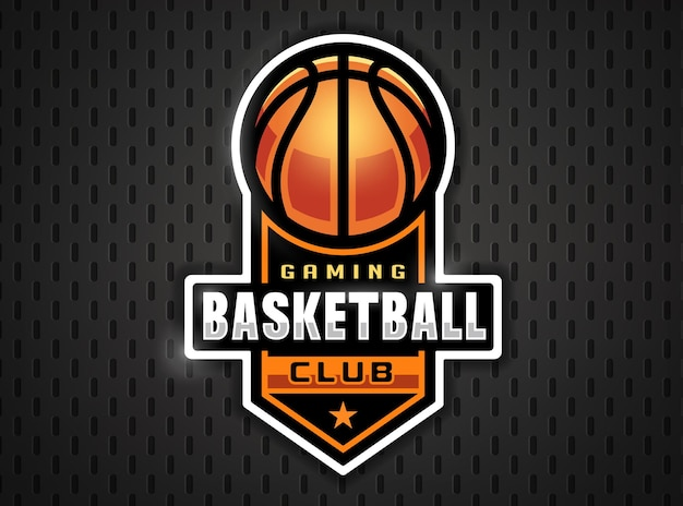 Logotipo profissional do basquete em estilo simples. jogos de esporte.