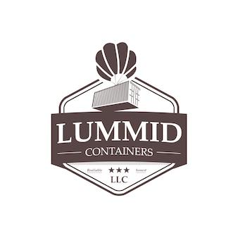 Logotipo profissional do vintage dos recipientes de transporte