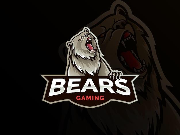 Logotipo profissional moderno urso pardo para uma equipe de esporte
