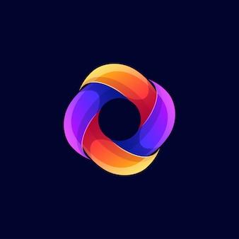 Logotipo quadrado abstrato moderno cor
