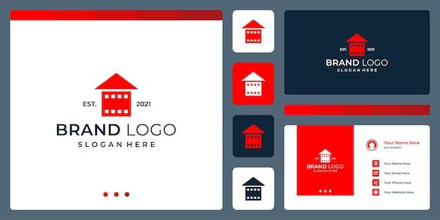 Logotipo que combina formas de casa e filme srip. cartões de negócios.