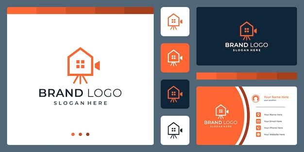 Logotipo que combina formas de casa e formas abstratas de câmeras de vídeo. cartões de negócios.