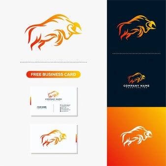Logotipo rápido de bull e modelo de vetor de cartão