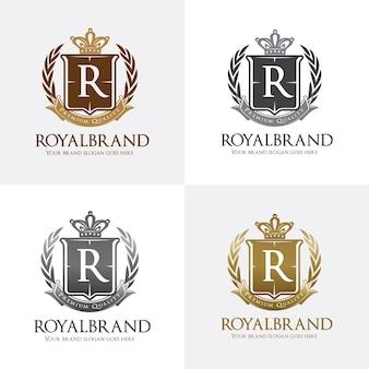 Logotipo real com coroa, grinalda e símbolo de escudo
