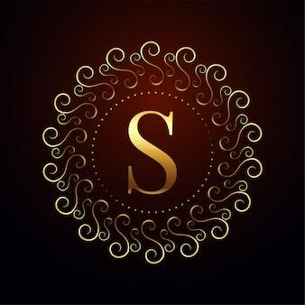 Logotipo real dourado de luxo letra s