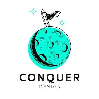 Logotipo realista do designer gráfico desenhado à mão