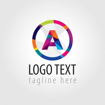 Logotipo redondo colorido com um grande um no meio