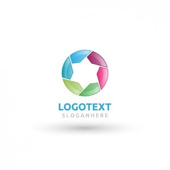 Logotipo redondo colorido com uma estrela