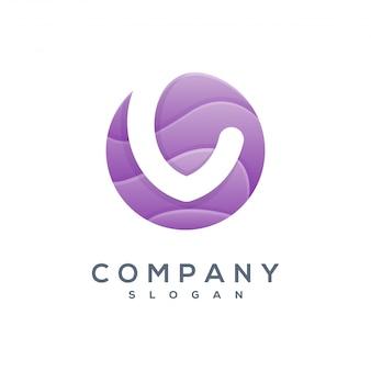 Logotipo redondo da onda v pronto para uso